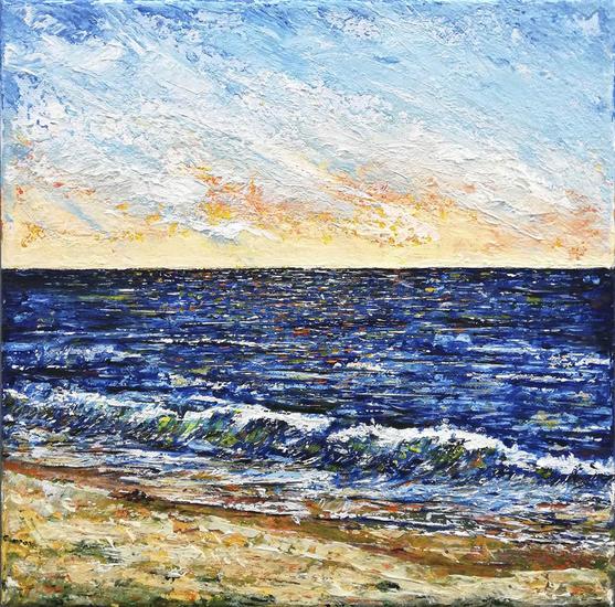 Beach Marina Media Mixta Lienzo