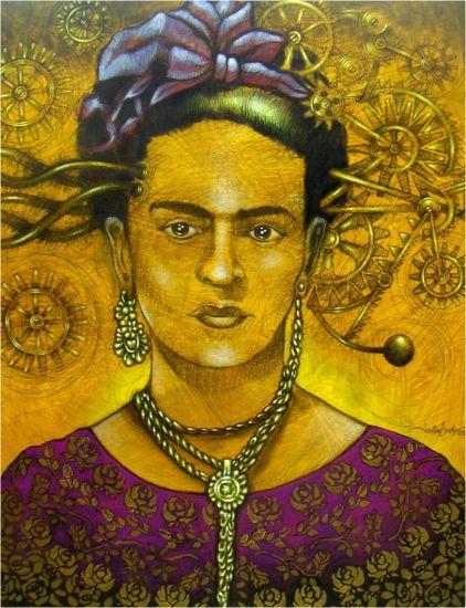 """""""Frida en amarillo con encajes de rosas"""","""