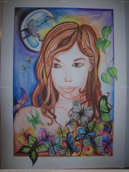 Mariposas para Agustina Retrato Acuarela Cartulina