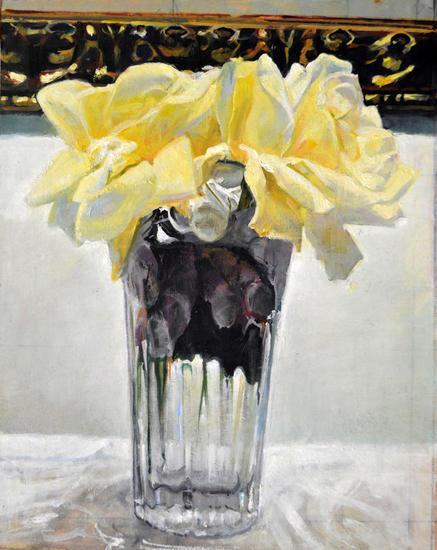 Rosas Amarillas Floral Óleo Tabla