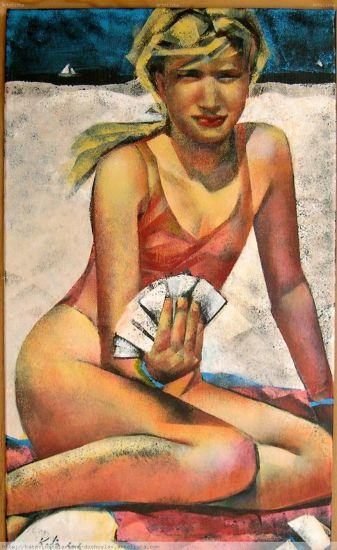 figura con baraja de cartas