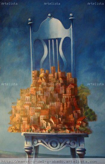 La ciudad en la silla Acrílico Lienzo Otros