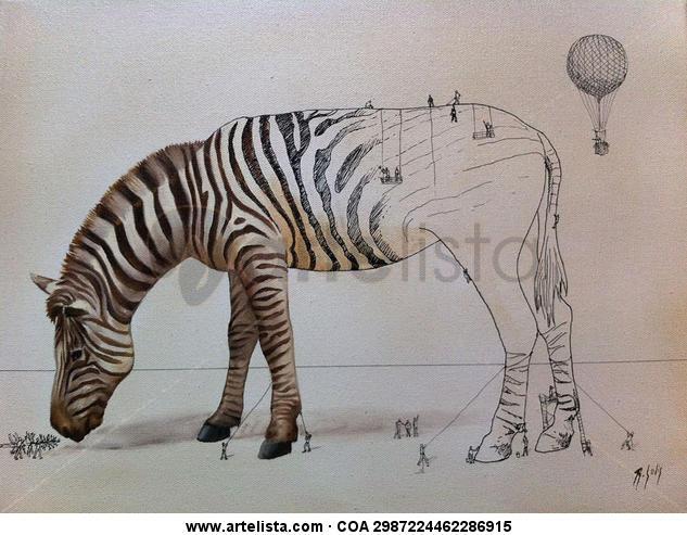 CREACIÓN DE LA CEBRA/ ZEBRA CREATION Lienzo Media Mixta Animales