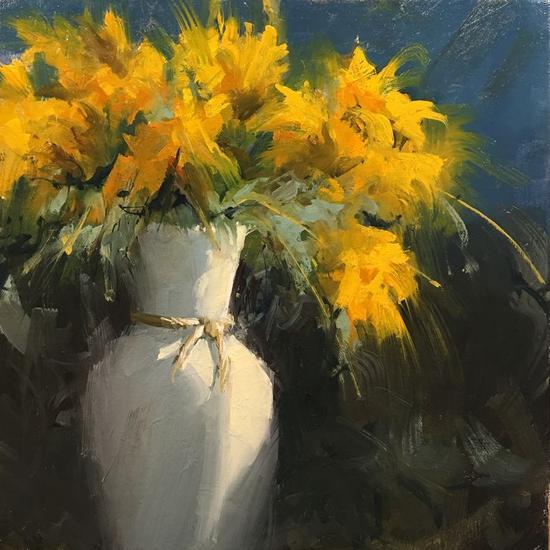 flores amarillas Lienzo Óleo Floral