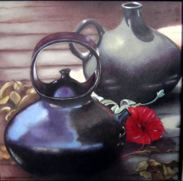 vasijas negras Óleo Lienzo Bodegones