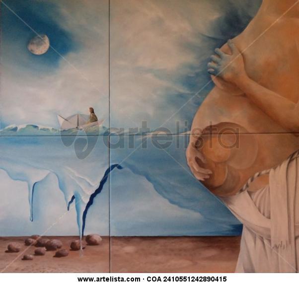 Minha Mãe Amassa o Pão - feto Figura Óleo Cartulina