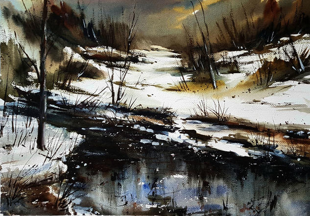nevada al atardecer  Landscaping Watercolour Paper
