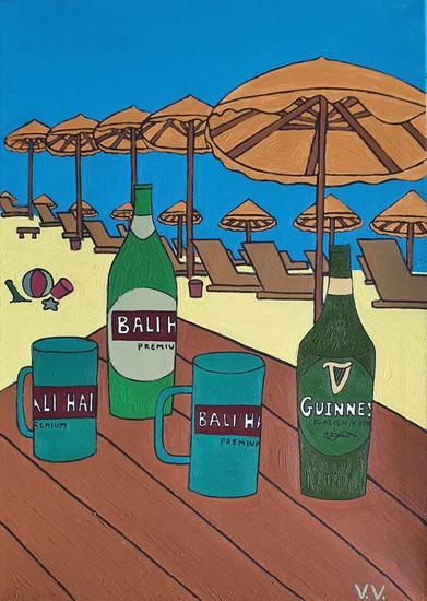 De cervezas en Bali Paisaje Óleo Lienzo