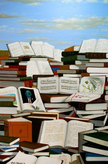 Libros Paisaje Lienzo Óleo