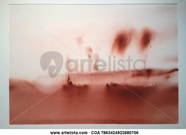 Playas en la niebla Papel Acuarela Marina