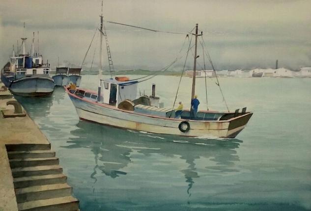 Pesqueros en Ayamonte Paper Watercolour Marine Painting