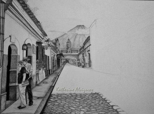 dib. lapicero-Antigua Guatemala Rotulador