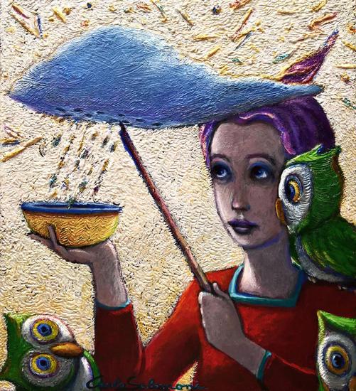 El recogedor de lluvia - ( listo para colgar ) Tabla Acrílico Figura