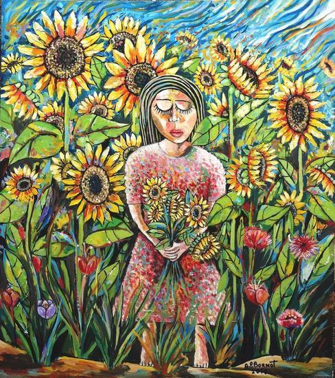 Paseo con girasoles Lienzo Óleo Floral