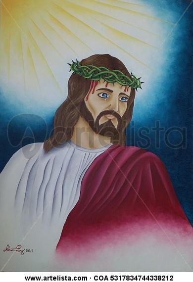 Cristo Chorando Tela Óleo Retrato