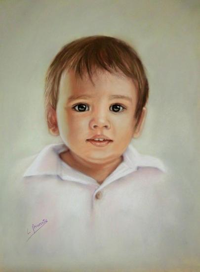 El niño de los ojos verdes Papel Pastel Retrato