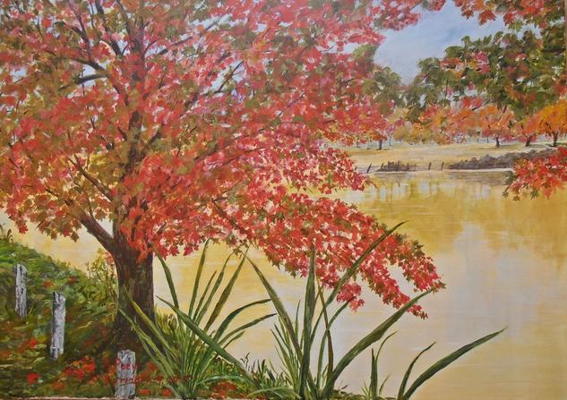 Reflejos en el rio 3 Paisaje Lienzo Acrílico