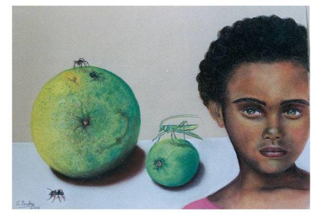 Negra con insectos Pastel Cartulina