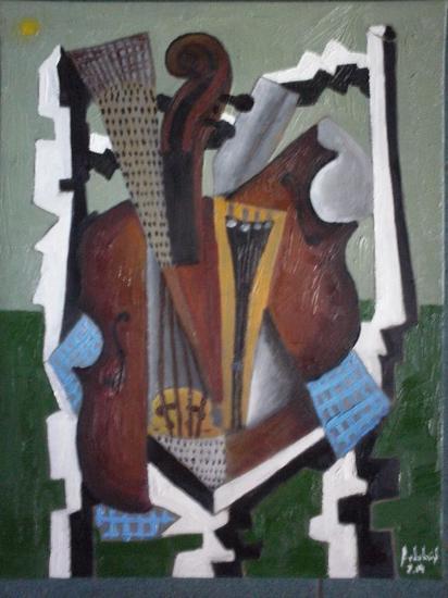 violin y silla Lienzo Óleo Otros