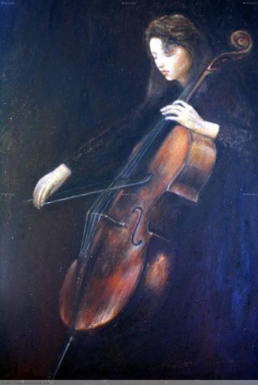 大提琴家 Retrato Lienzo Óleo