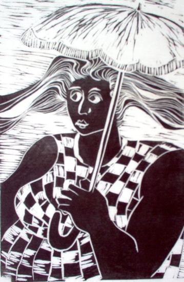 Mulher com sombrinha Linograbado