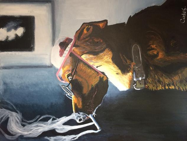 perro reflexivo  Canvas Acrylic Animals