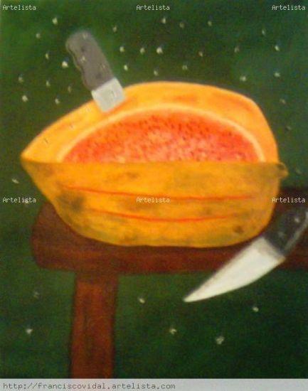 Bodegon con papaya,franciscoVidal(c) Lienzo Acrílico Paisaje
