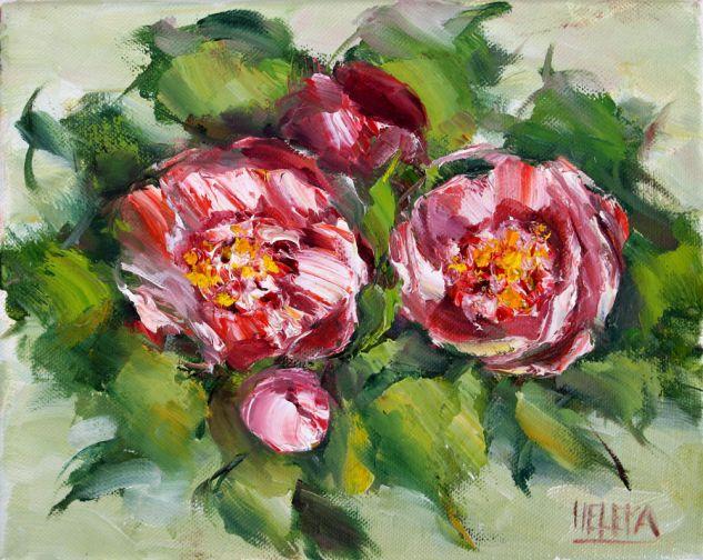 Camélias Rosas Lienzo Floral Óleo