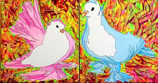 Las palomas Lienzo Óleo Animales