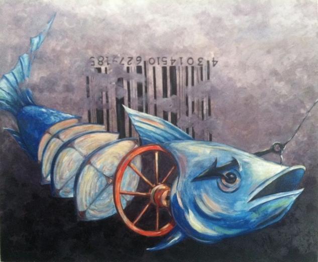 Pescado en ruedas Otros Acrílico Lienzo