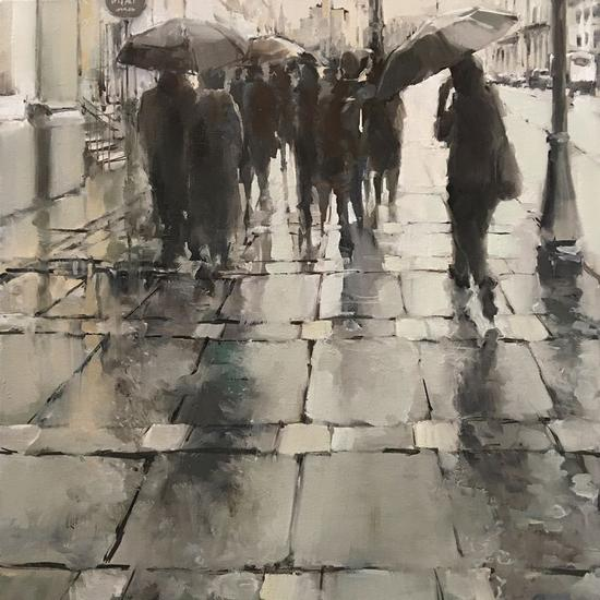 Lluvia en la ciudad Lienzo Óleo Figura