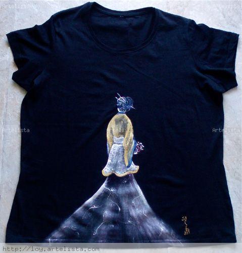 Camiseta pintada a mano Óleo Lienzo Paisaje