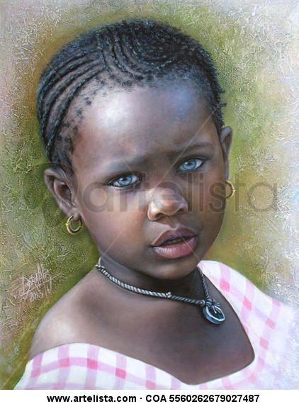 Niña de África 69 Canvas Oil Portrait