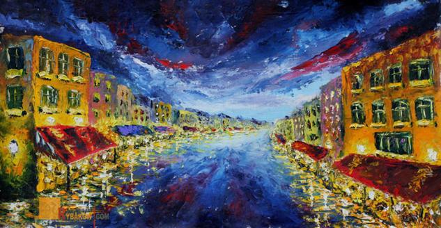 Night oil painting: Summer Evening 284. Valery Rybakow. Lienzo Óleo Paisaje