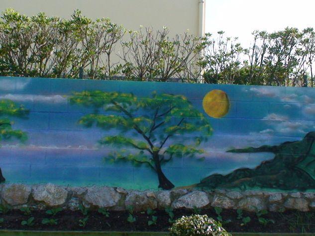 graffiti decoración jardin  cascada