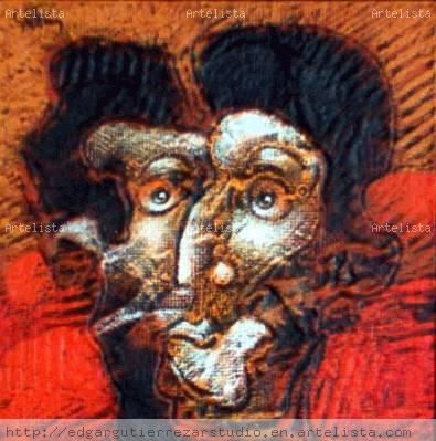 From The Spirit's Garden: Faces III Tabla Media Mixta Retrato