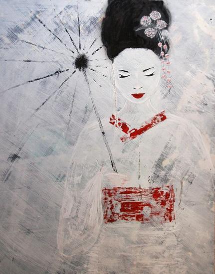Geisha Tabla Acrílico Retrato
