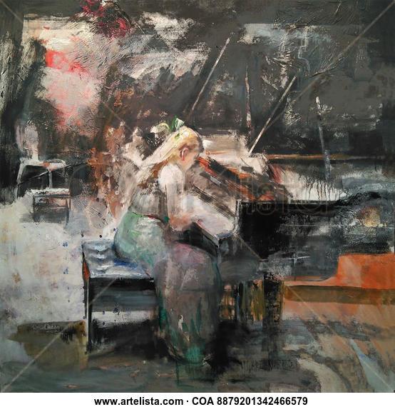La pianista Figure Painting Oil Canvas