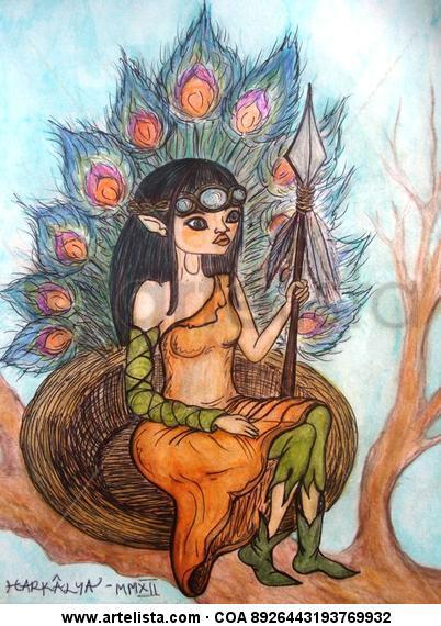 Señora de los Pájaros Retrato Acuarela Papel