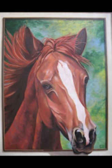 caballo Paisaje Óleo Lienzo