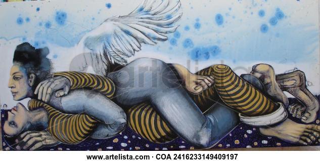 El amor de los ángeles. Otros Acrílico Tela