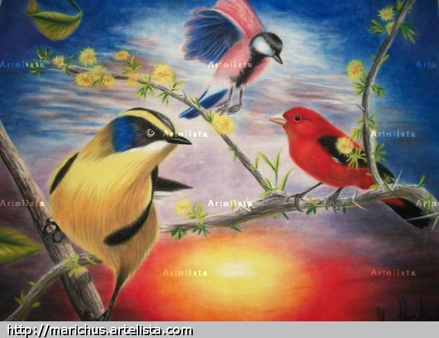 Twilight Birds Papel Pastel Paisaje