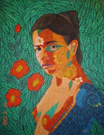 Mujer en Armonia Acrílico Lienzo Retrato