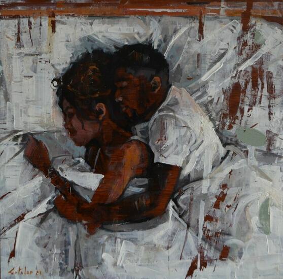 AMANTES Figure Painting Oil Panel