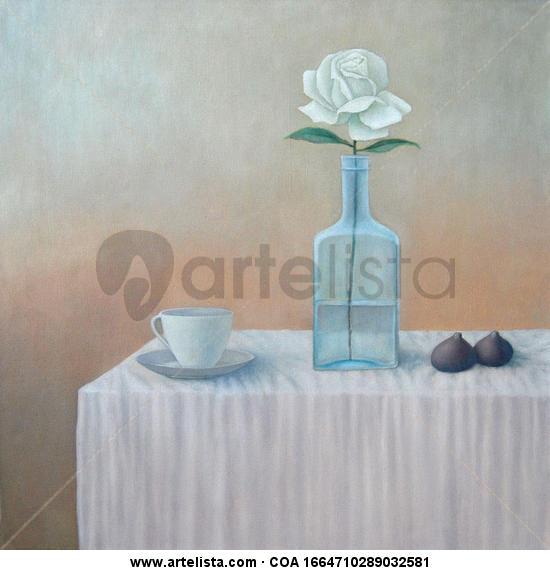 bodegón rosa blanca