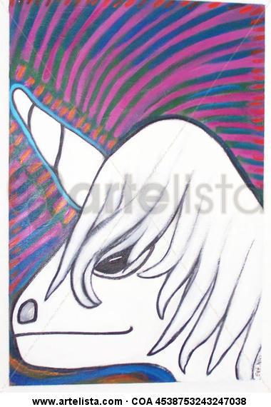 Unicorn Tabla Acrílico Retrato