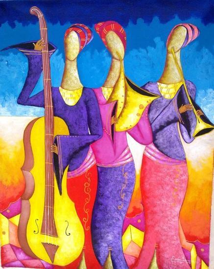 musicos celestial Lienzo Acrílico Figura