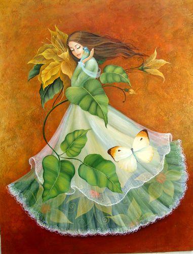 Mujer hecha flor Acrílico Lienzo Paisaje