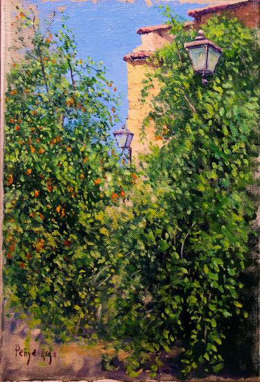 Detalle del jardín Paisaje Óleo Lienzo