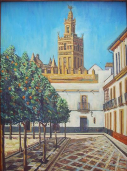 Giralda vista de Sevilla Oil Panel Landscaping